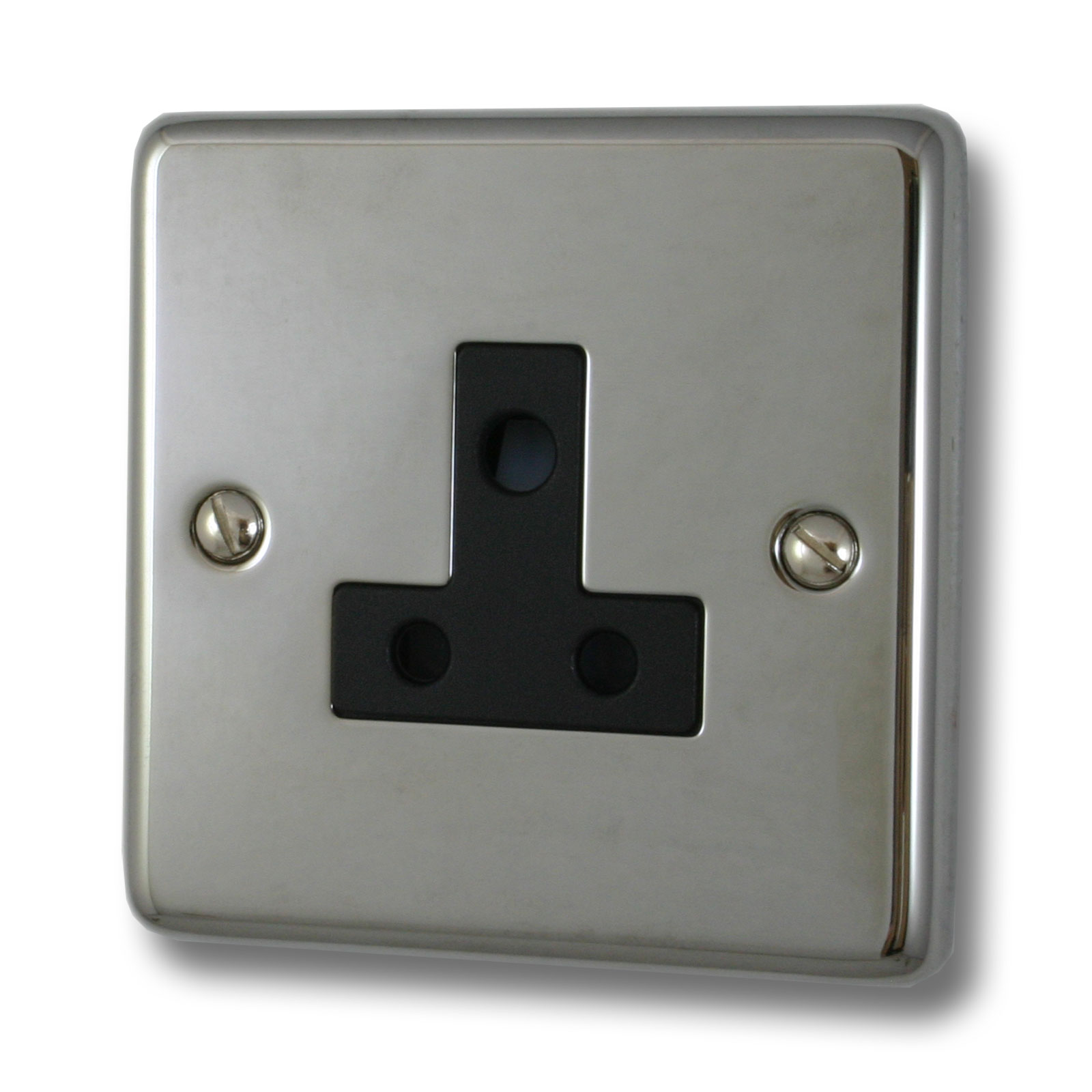 Chrome and metal finishes for electrical sockets