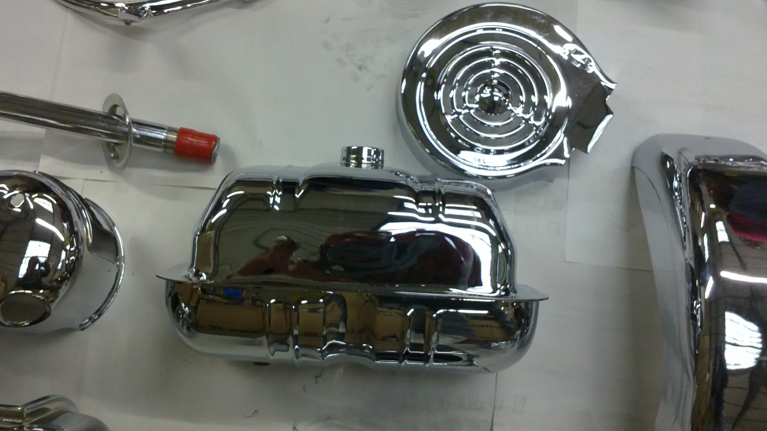 Chroming fuel tanks, mudguards and parts for motorcycles